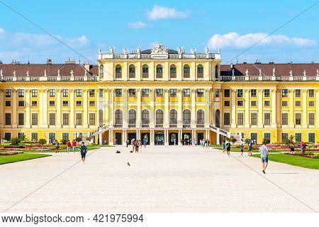 Vienna, Austria - 23 July, 2019: Schonbrunn Palace, German: Schloss Schonbrun, Baroque Summer Reside