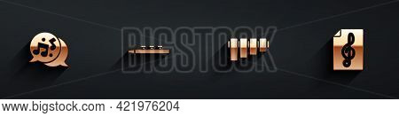 Set Music Note, Tone, Drum And Drum Sticks, Pan Flute And Treble Clef Icon With Long Shadow. Vector