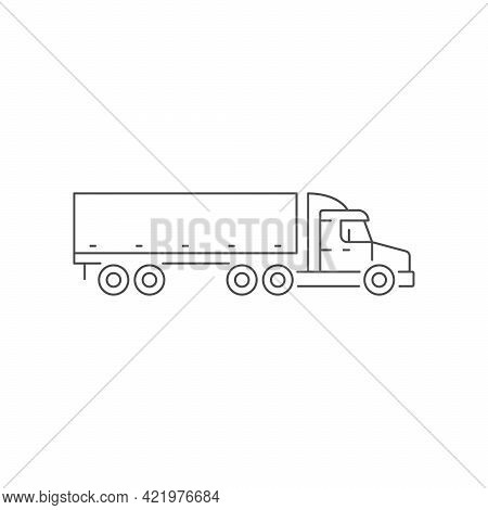 Trailer Truck Line Outline Icon Isolated On White