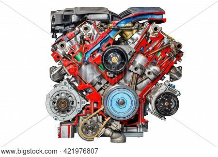The Stand Shows The Piston Group Of An Internal Combustion Engine Of A Modern Car, The Image Is High