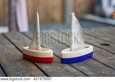 Two Handcrafted Wooden Sailing Boats. Handmade Natural Material Toys For Kids. Waldorf Plaything Shi