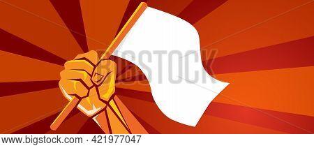Hand Holding White Blank Flag Symbol Of Surrender Freedom