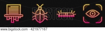 Set Line Flasher Siren, Paper Shredder, System Bug Concept And Eye Scan. Glowing Neon Icon. Vector