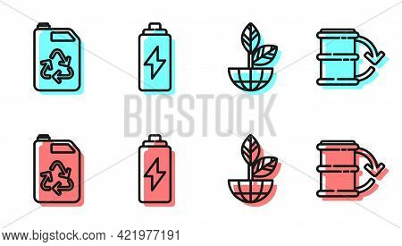 Set Line Earth Globe And Plant, Eco Fuel Canister, Battery And Eco Fuel Barrel Icon. Vector