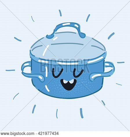 Vector Illustration Of Pan, Dish, Recipe. Culinary Concept. Saucepan With Face On White Background.