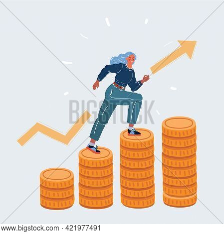 Vector Illustration Of Full Length Portrait Of Young Businesswoman Climbing Up Stacked Coins Represe