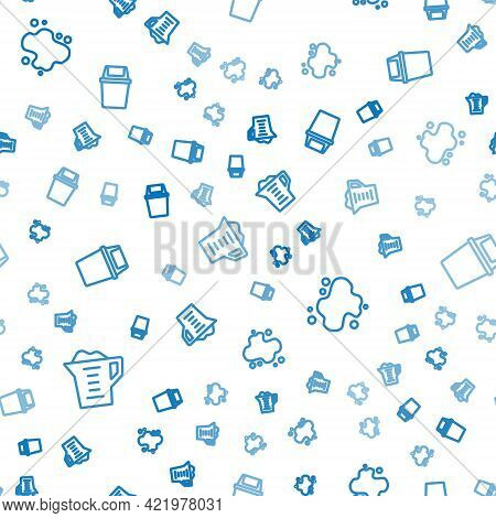 Set Line Washing Powder, Water Spill And Trash Can On Seamless Pattern. Vector