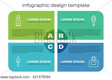 Set Line Pipette, Spray Can For Hairspray, Perfume And Hand Mirror. Business Infographic Template. V