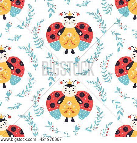 Ladybugs Seamless Pattern Ladybird And Flowers Background