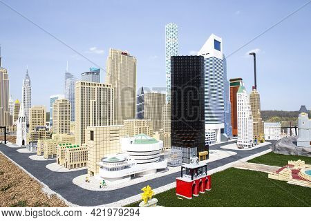 Brooklyn, Ny - April 24 2021: View Of New York City Made Of Colorful Bricks In The Miniland Attracti
