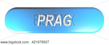 Prag Blue Rounded Rectangle Push Button - 3d Rendering Illustration