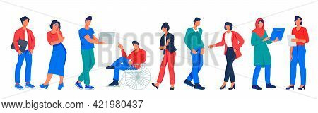 Business Team Of Diverse Multiethnic People, Flat Vector Illustration Isolated On White Background.