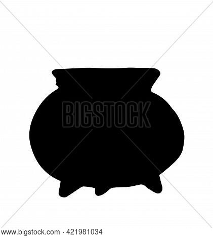 Vector Isolated Silhouette Of A Witch's Cauldron On Three Legs, Hand-drawn Side View In Doodle Style