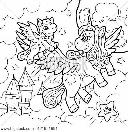 Cartoon Cute Pony Unicorn, Coloring Book, Outline Illustration
