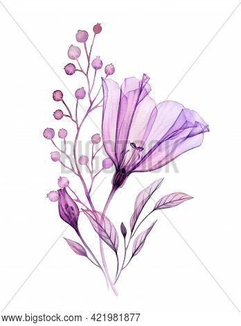 Watercolor Floral Bouquet In Purple. Hand Painted Artwork With Transparent Violet Flower And Small B