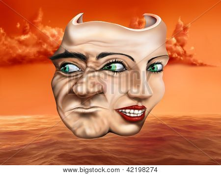 Surreal schizophrenic theater mask depicting mixed emotions poster