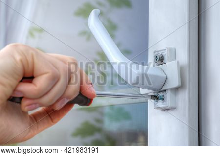 On Double Hung Window, Dismantle Handle To Supply Restrictor That Adjusts Width Of Opening.