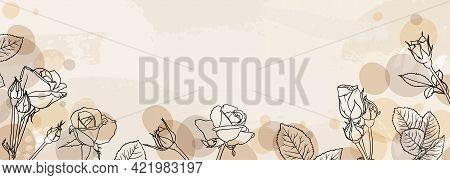 Banner Background Of Creative Minimalist Hand Draw Illustrations Floral Outline Rose Pastel Biege Si