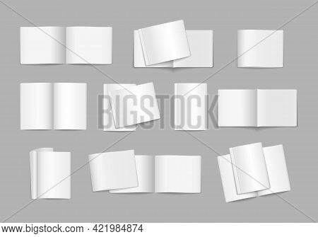 Set Blank Magazine Cover, Book, Booklet, Brochure.
