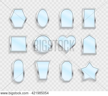Realistic Empty Mirrors Reflecting Glass 3d Icons