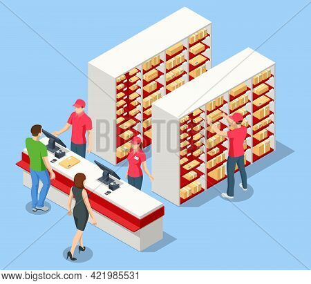 Isometric Concept Post Office, Mailbox. People Working At The Post Office. Modern Exterior And Inter