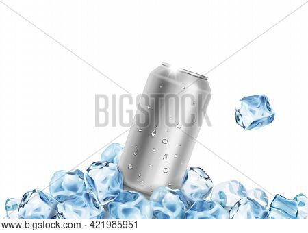 Aluminum Beer Soda Water Tin Can With Ice Cubes. Blank Metallic Can For Drink Juice. Packaging Empty