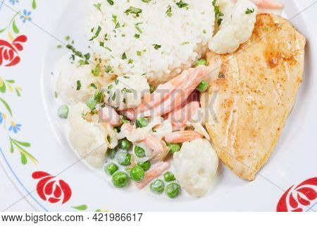 chicken with rice on white background
