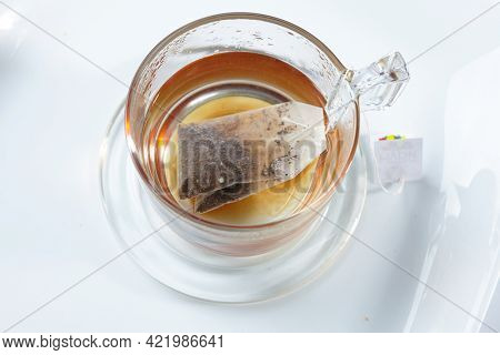 black tea in the glass cup