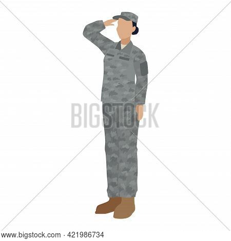 Isolated Us Army Woman Soldier Vector Illustration