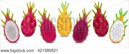Illustration Set Of Various Dragon Fruits Different Colors. Ripe Dragon Fruit Or Pitaya Isolated On