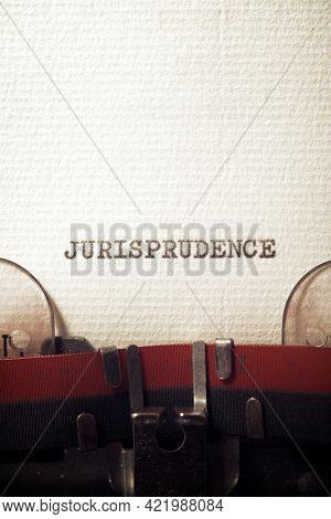 The word jurisprudence written with a typewriter.