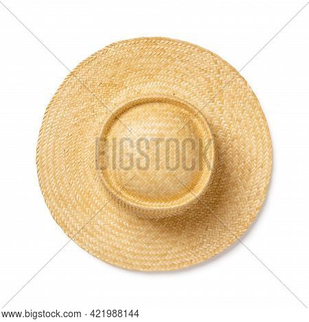 Yellow Wide Brimmed Straw Hat Isolated On White Background. Design Element For Modern Eco-friendly A