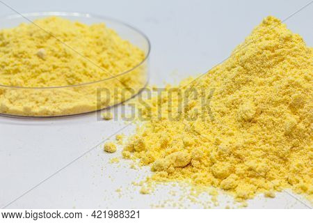 Sulfur Or Sulfur Is A Chemical Element Used For Sulfuric Acid For Batteries, Gunpowder Making And Ru