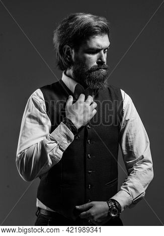 Just Be Best. Male Beauty And Fashion. Brutal Businessman With Perfect Beard And Moustache. Real Bos
