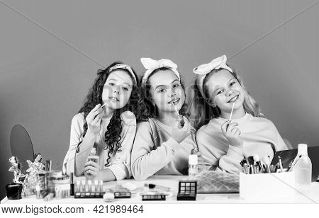 Happy Childrens Day. Three Friends With Happy Face. Smiling Girls Friends Have Fun On Spa Beauty Par