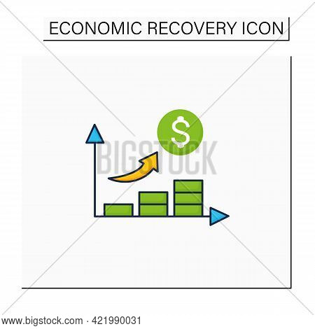 Economic Growth Color Icon. Upswing Period. Key Indicators Rise. Money Inflation.business Concept. I