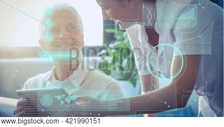 Composition of digital screens with medical data processing over happy senior man using tablet. global technology, data processing and digital interface concept digitally generated image.