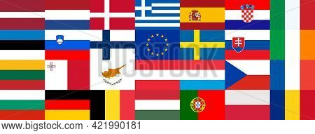 Flags Of The Countries Of The European Union And The Eu Flag Are Brought Together. Big Beautiful Col