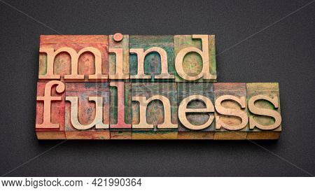 mindfulness word abstract or banner - awareness concept - text in vintage letterpress wood type printing blocks against black background