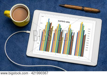 column chart of quarterly sales on a digital tablet with a cup of coffee, business data analysis concept