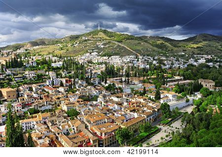 a view of Albaicin and Sacromonte districts in Granada, Spain