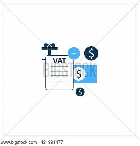 Value Added Tax Flat Icon.indirect Tax, Goods Price. Paid By Buyer. Universal Basic Income Concept.