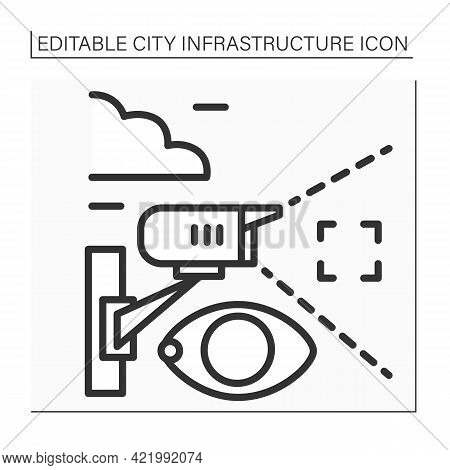 Video Surveillance Line Icon. Camera Transmits Signal To Specific Person. Surveillance Of Area From