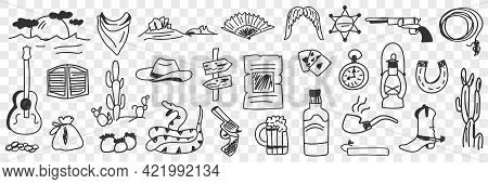 Traditional Cowboy Symbols Doodle Set. Collection Of Hand Drawn Various Guitar Snake Boots Bottle Gu