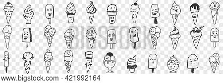Sweet Ice Cream Shapes Doodle Set. Collection Of Hand Drawn Various Ice Cream Emoticon Facial Expres
