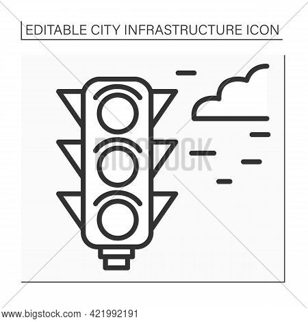 Traffic Lights Line Icon. Signaling Device To Control Flows Of Traffic. Road Regulation. Outline Dra