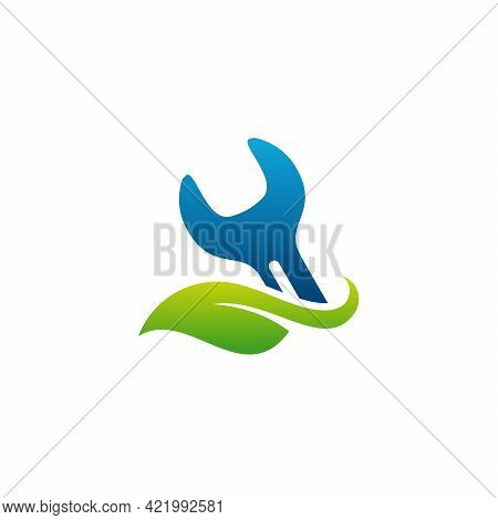 Mechanic Logo Designs Concept Vector, Leaf And Wrench Logo
