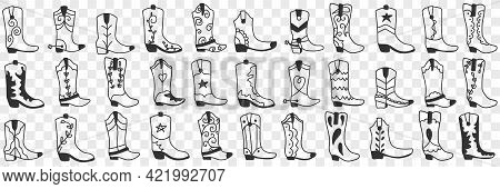 Various Cowboy Boots Doodle Set. Collection Of Hand Drawn Various High Boots In Cowboy Style For Wea