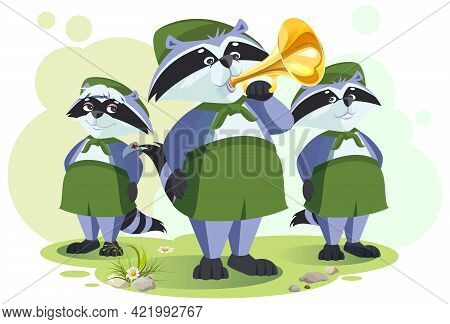 Scout Raccoon Horner Do Bugle Call. Bugle Ceremony In Tourist Camp