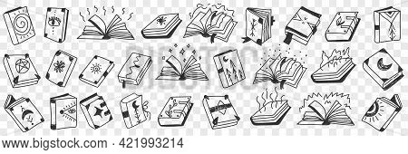 Occult Spiritual Books Doodle Set. Collection Of Hand Drawn Various Books With Sigs And Symbols Of O